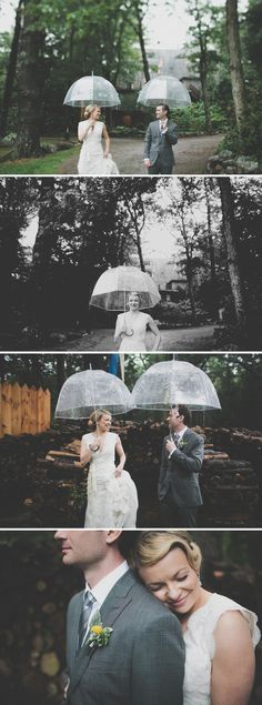 Don't let a little wedding day rain get you down -- plan ahead, buy some matching umbrellas just in case, and enjoy the resulting pictures. Photos by Juan Maclean.