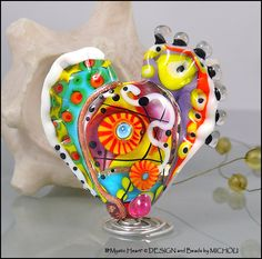 "MICHOU Anderson Lampwork Beads - Large glass focal bead in yellow, purple, red and white ""ART Heart"""