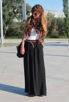 Black Maxi Skirt, White Tank  Leather  Print Accessories.