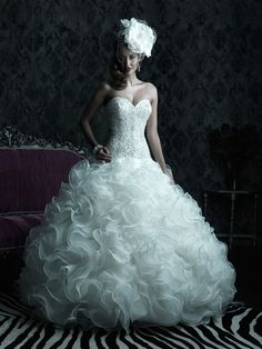 Allure Bridals : Couture Collection : Style C220 : Available colours : White/Silver, Ivory/Silver