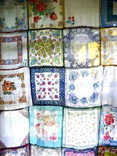 Sweet shower curtain idea. I have tons of vintage hankies.