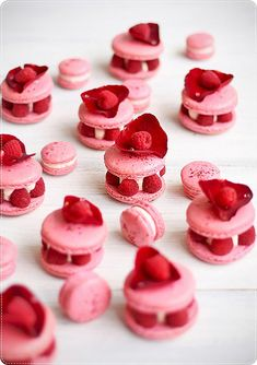 Fantastically beautiful Raspberry and Rose French Macarons. #pink #raspberries #rose #macarons #cookies #pastries #red #beautiful