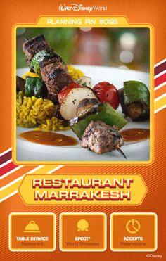 Walt Disney World Planning Pins: Restaurant Marrakesh