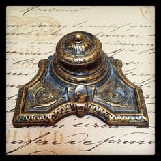 Vintage BRASS DECO INKWELL / Mod Brevet / Art Deco with Porcelain Ink Well Cup