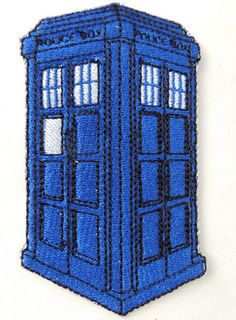 Doctor Who Tardis Embroidered Patch Made from by ADbyBrandyFenenga, $5.00