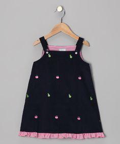 Navy Apple & Pear Ruffle Jumper - Infant, Toddler & Girls