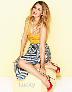 outfits, fashion, skirts, style, magazines, yellow, lauren conrad, march 2013, stripe