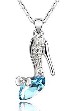 Sparkling Blue Crystal Heel Necklace.