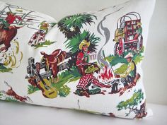Pillow Cover Barkcloth Cowboys Wild West 16 by theCottageWorkroom