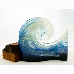 "BOBBIE COLEMAN ""Curved Wave""  I create glass that captures movement and light, especially of the wonderful waves that crash around our coast..."