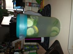 Detox water! I threw in 2 lemons, 2 limes, 1 cucumber and a bunch of mint!!