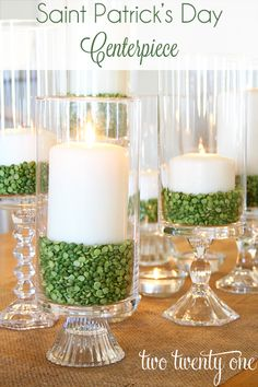 St. Patrick's Day Hurricane Candles filled with split peas - love how she used E6000 to glue together a variety of thrift shop candlesticks and hurricane vases for a mixed look!
