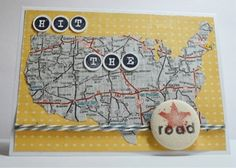 handmade card  ... map of USA cut from real map paper ... Sentiment to match ... fun card!