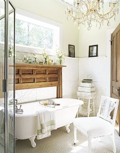 Charming Cottage Bathroom. Oh my - love the mantle and and shelving.