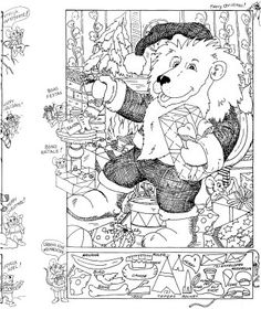 Hidden Pictures Christmas coloring sheet - -