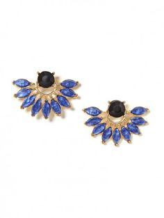 show off in our sapphire peacock studs
