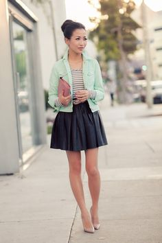mint jacket with striped shirt