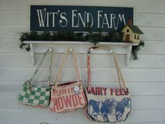 Carpetbags made from my vintage feed sacks. Handcrafted at Wit's End.  www.ginnymae.etsy.com
