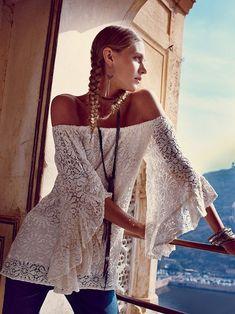 Sexy boho chic lace top with hippie style braids. FOLLOW http://www.pinterest.com/happygolicky/the-best-boho-chic-fashion-bohemian-jewelry-gypsy-/ for the BEST Bohemian fashion trends in clothing  jewelry.