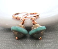 Glass Earrings Copper Earrings Bronze Turquoise by fiveforty, $16.00