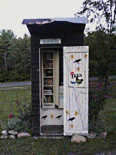 Laura Baldwin. Fort Ann, NY. My dad built this outhouse, and when he passed away in 2007, we moved it on our property, where it's been used it ever since to sell eggs... self-serve! I had an empty cabinet in the outhouse too, and decided to use that as a Little Library! Our road leads to hiking trails, horse trails and access to east side of Lake George, and in summertime it is well-traveled with hikers and campers, many who purchase my eggs. Now they'll have another reason to stop by!