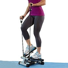 Step this way for better health with the Mini Stair Stepper w/ Resistance Bands.