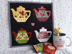 teapot, prayer, tea time, tea pot, mini quilts, quilt blocks, paper piec, mug rugs, dot