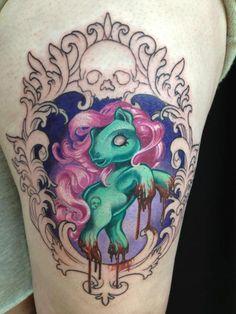 thigh tattoos, frames, ponies, poni tattoo, zombi tattoo, zombi poni, poni zombi, zombies, ink