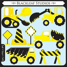Construction Trucks ORIGINAL digital by BlackleafClipart on Etsy, $5.00