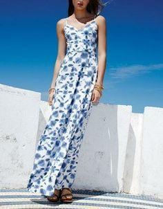 Cute! Blue and white print maxi dress. Love the way it flows in the wind.