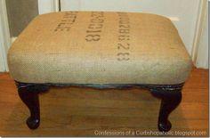 Burlap covered stool