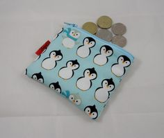 Christmas Blue Penguins Fabric Coin Purse - Free P £4.00