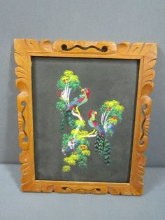 Mexican Feather Craft Bird Picture Framed