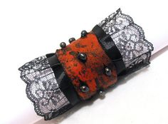 Gothic Leather Bracelet with Lace and Pearls