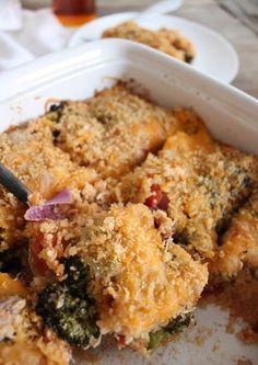 Roasted Broccoli, Chicken and Cheddar Quinoa Bake
