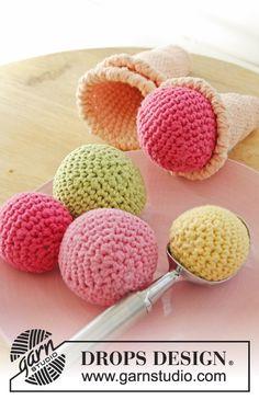 "Crochet DROPS ice cream cone with loose scoops in ""Paris"". ~ DROPS Design"