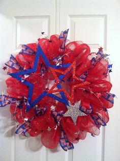 Etsy listing at http://www.etsy.com/listing/151284532/summer-mesh-wreath-july-4th-memorial-day memorialday, mesh wreaths, memorial day wreaths