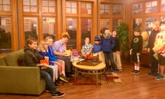 A great group of kids greet Jeff Kinney for #HardLuck at KATU tv in Portland.