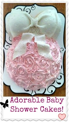 Cute idea for a baby shower cake. Just make the roses blue for a baby boy!