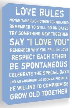 Love Rules Blue & White Canvas Wall Art