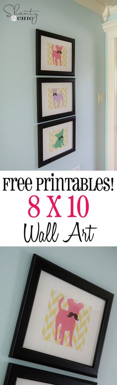 Free Printable Mustache Dogs at Shanty-2-Chic.com // SO cute for a girl's room!!