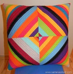 #Rainbow All-Sort String Pillow #quilt tutorial by Anorina from Samelia's Mum