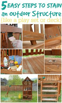 5 Easy Steps to Stain an Outdoor Structure {like a play set or deck} via TheTurquoiseHome.com