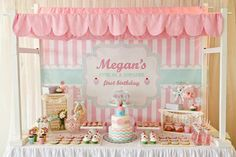 "Love everything about this party themed ""Cupcake Shoppe 1st Birthday Party"", here the sweet tablescape"