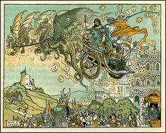 A flying dragon chariot? Illustration by Donn P. Crane