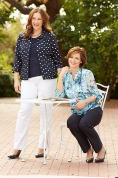 Our polka dot linen jacket and water color floral blouse pair perfectly with our double weave pant.