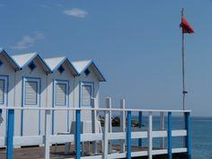 beach huts in Bordighera, Liguria #riviera #essenzadiriviera