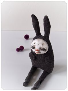 I'm a Rabbit - Original Art Doll-Textile and Polymer Clay