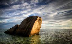 Landscape, Seychelles, sea, stone