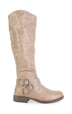 Deb Shops Faux Leather Tall Ruched Riding Boot with Buckled Straps $33.00